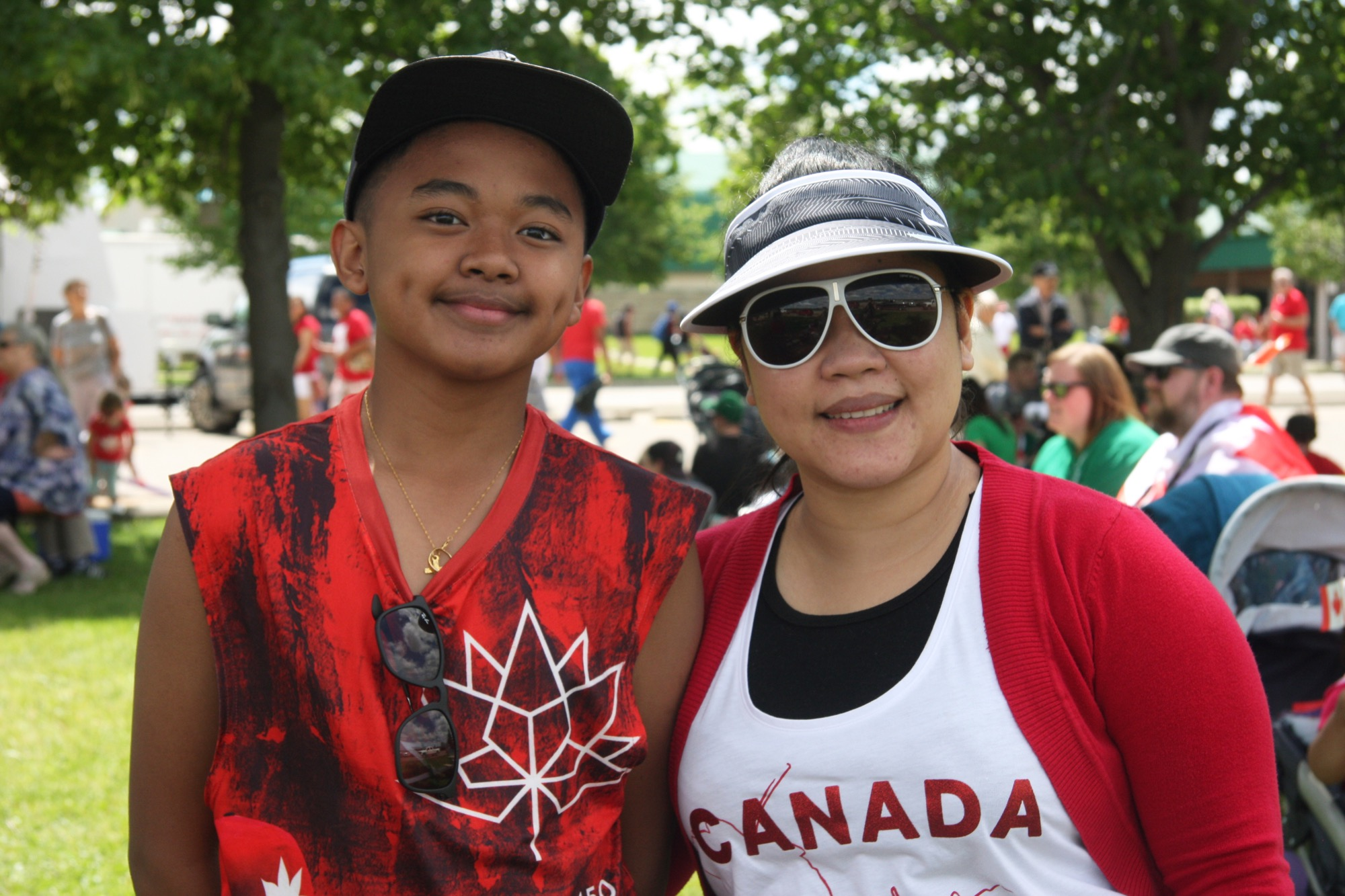 France Daniel Francisco and his mother, Jannette Francisco, attend the Canada 150 celebrations at the Riverbank Discovery Centre on Saturday. Originally from the Philippines, the family immigrated to Canada a year and a half ago from Singapore.