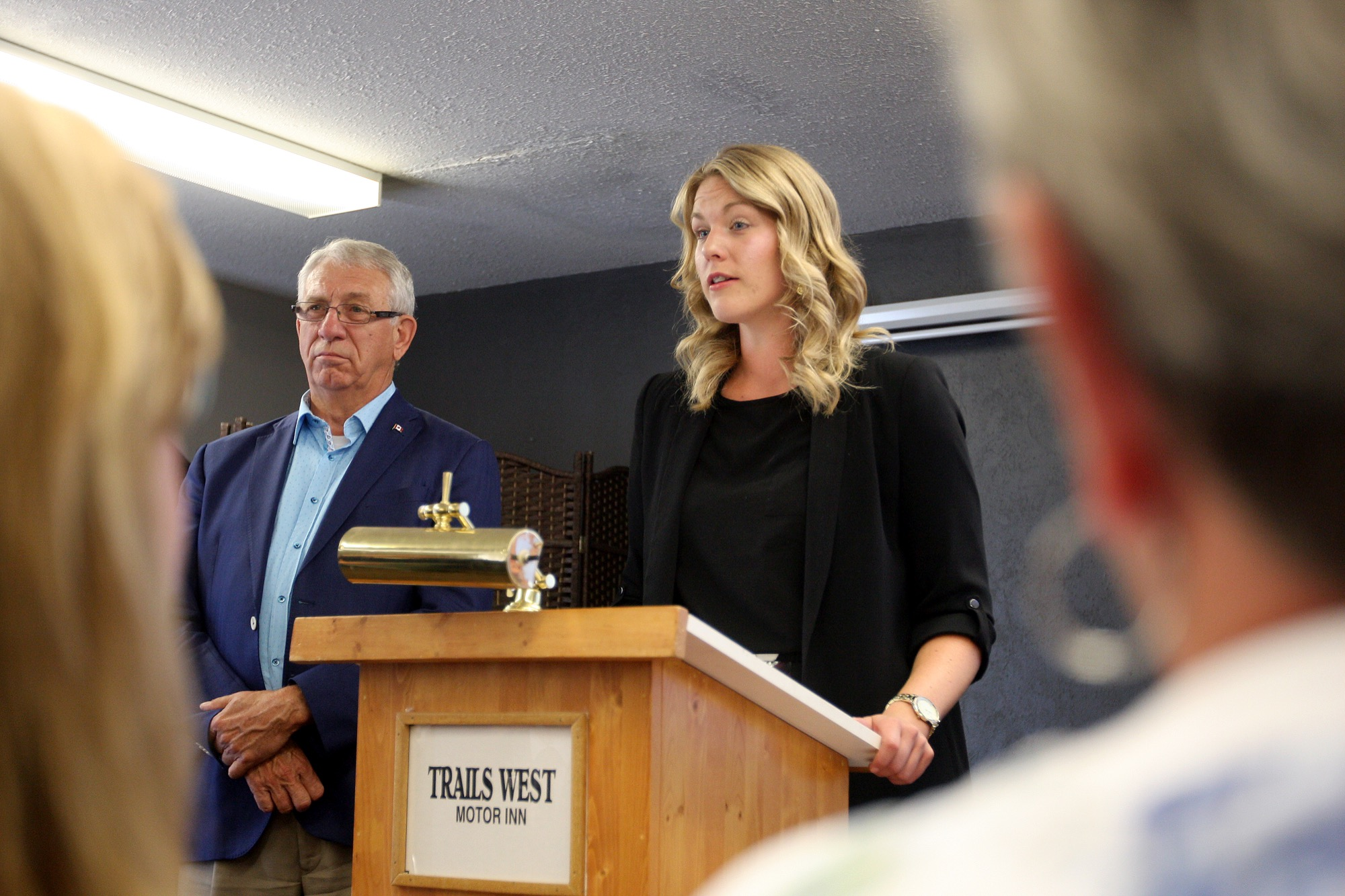 Brandon-Souris Conservative MP Larry Maguire and Conservative health critic Rachael Harder address the crowd during a roundtable discussion about the opioid crisis and legalization of marijuana at the Trails West Inn on Friday.