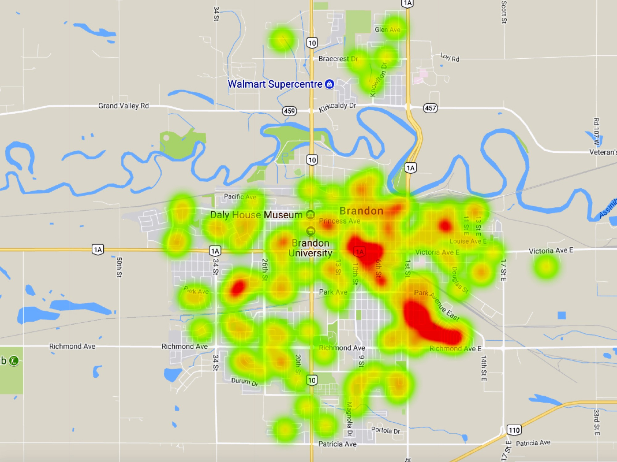 Based on locations provided by Brandon police in media releases from Jan. 1 to Sept. 1, The Brandon Sun was able to use Google Maps to map out the areas of the city hit hardest by break-ins. Green Acres and downtown, highlighted mostly in red, saw the highest number of break-ins in the area. The west end of Brandon, although sporadic, experienced a significant amount as well.