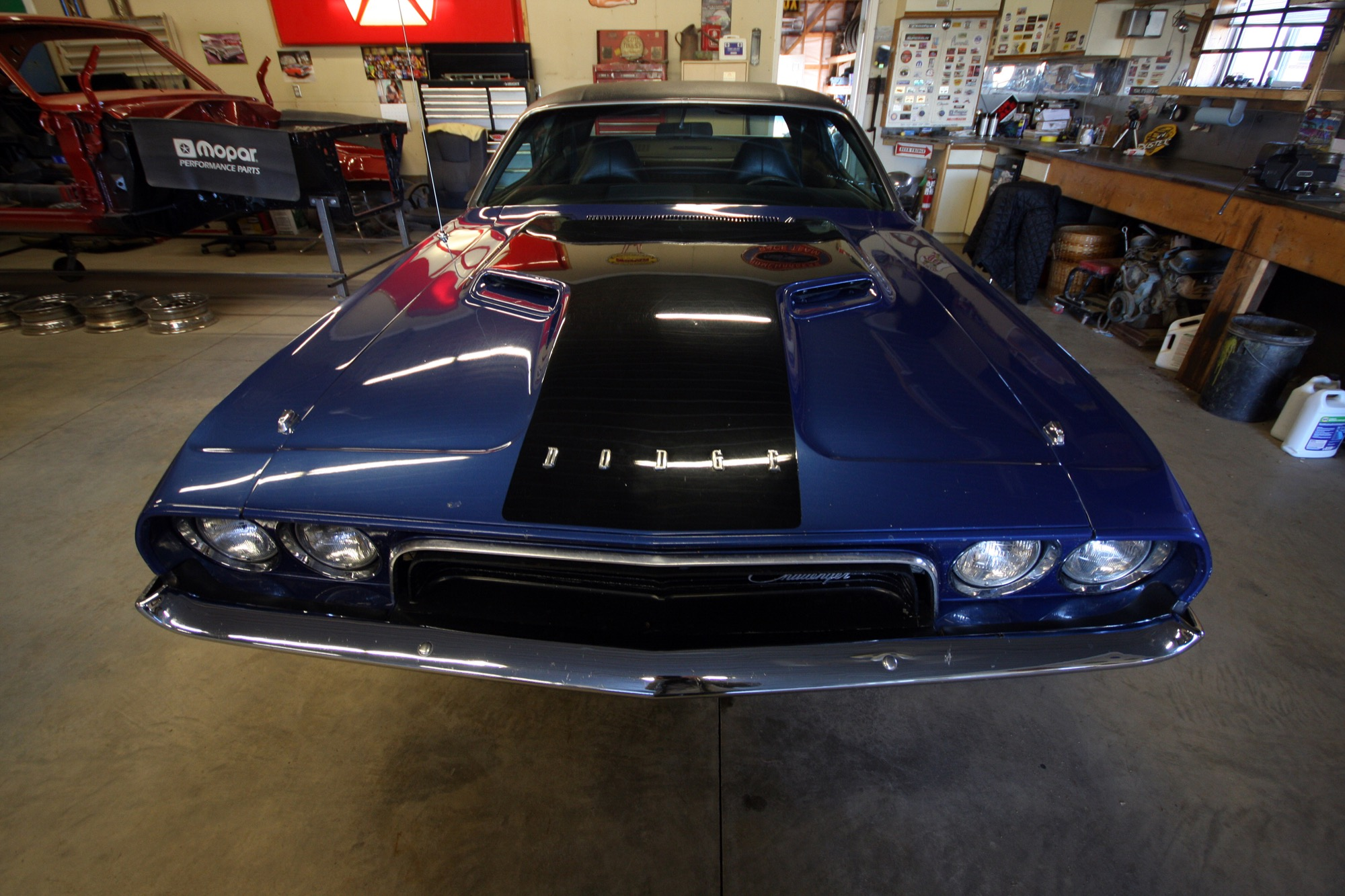 The front end of Mike Villers' 1973 Dodge Challenger.