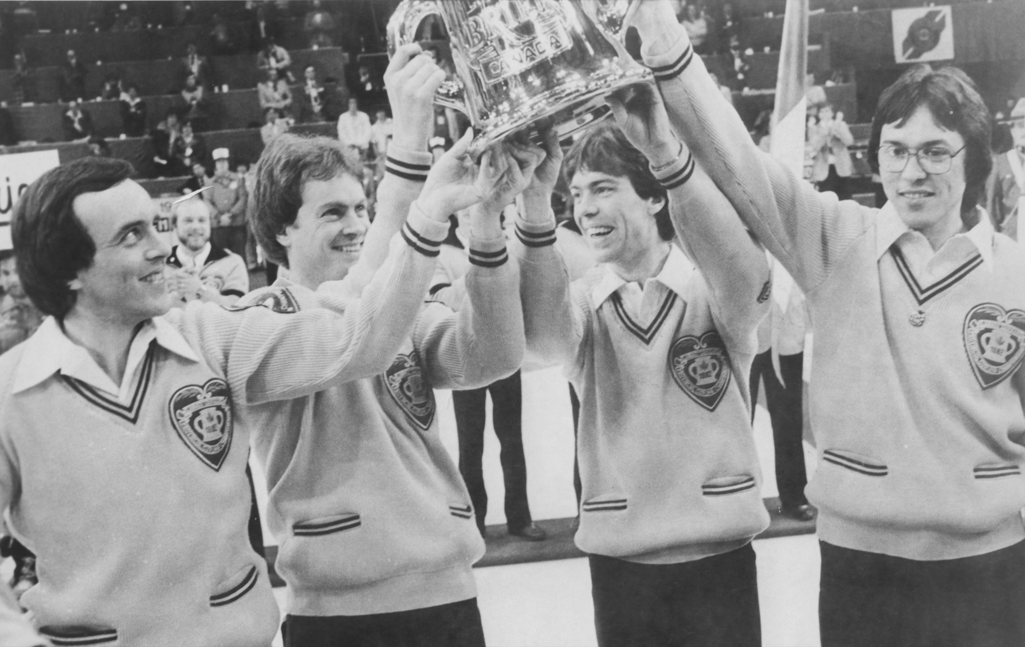 Al Hackner, right, and his Northern Ontario foursome captured the 1982 men's curling championship at the Keystone Centre.