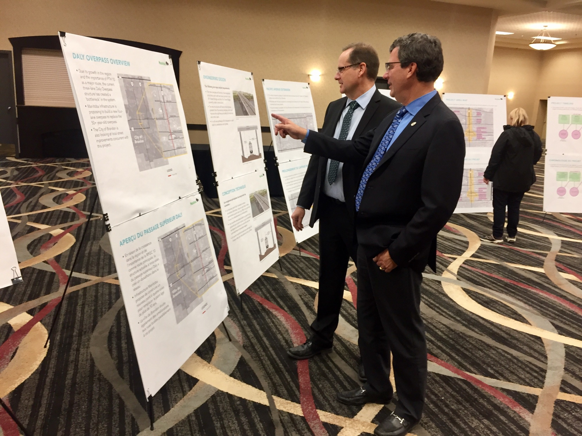 Four options for the new Daly Overpass were presented at a public open house held Tuesday. JILLIAN AUSTIN/THE BRANDON SUN