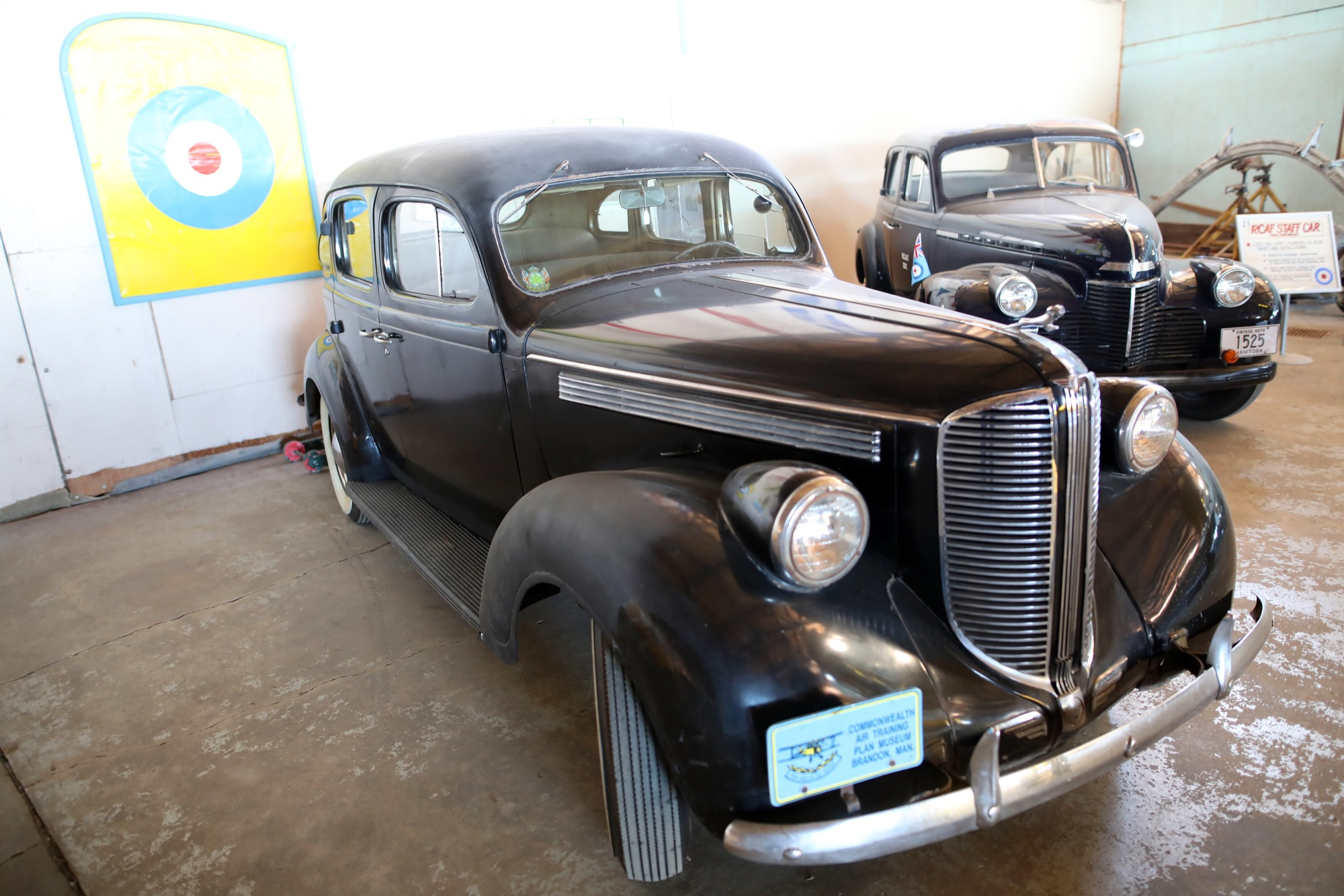 A 1938 four door Dodge Sedan and a 1940 Chevrolet RCAF staff car sit on display at the Commonwealth Air Training Plan Museum.  TIM SMITH/THE BRANDON SUN