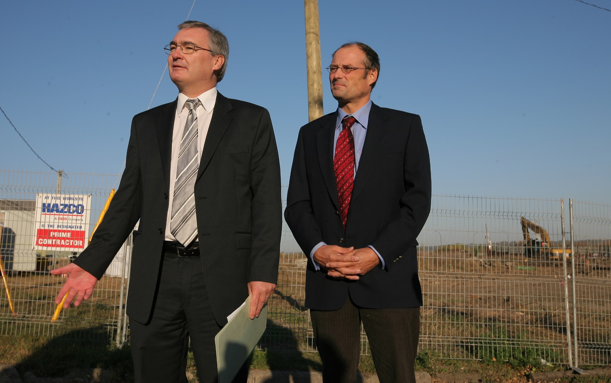 Then-Conservation Minister Stan Struthers and Brandon East NDP MLA Drew Caldwell announced additional funding for the First Street and Rosser Avenue cleanup site in this 2008 photo. Caldwell expressed surprise at recent allegations of sexual harassment against Struthers.