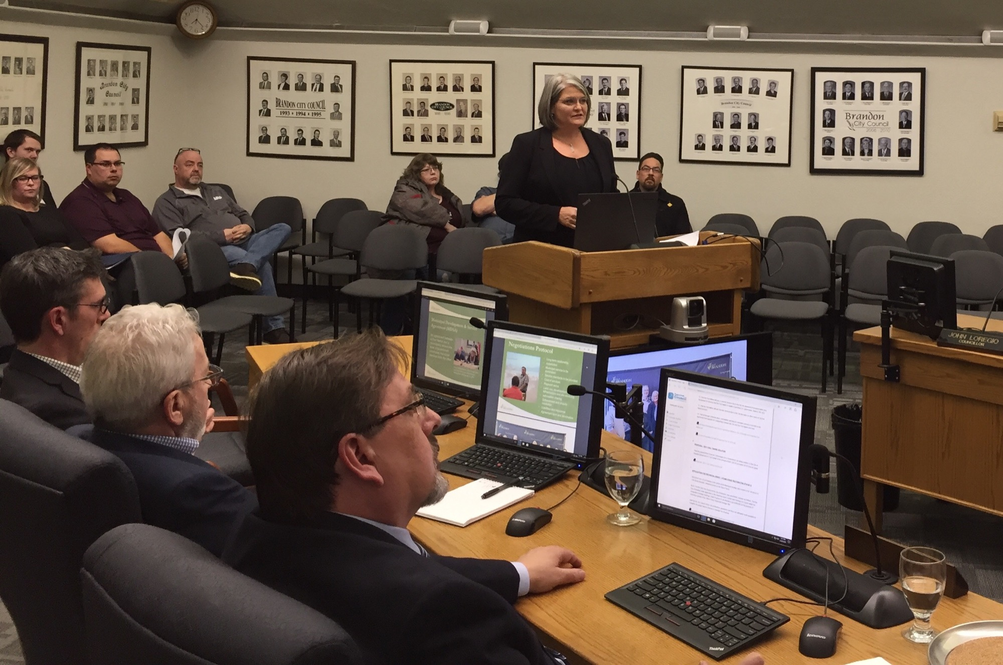 Jacqueline East, the City of Brandon's general manager of development services, presents to council on the municipal development and services agreement between the city and Gambler First Nation during Tuesday night's meeting.