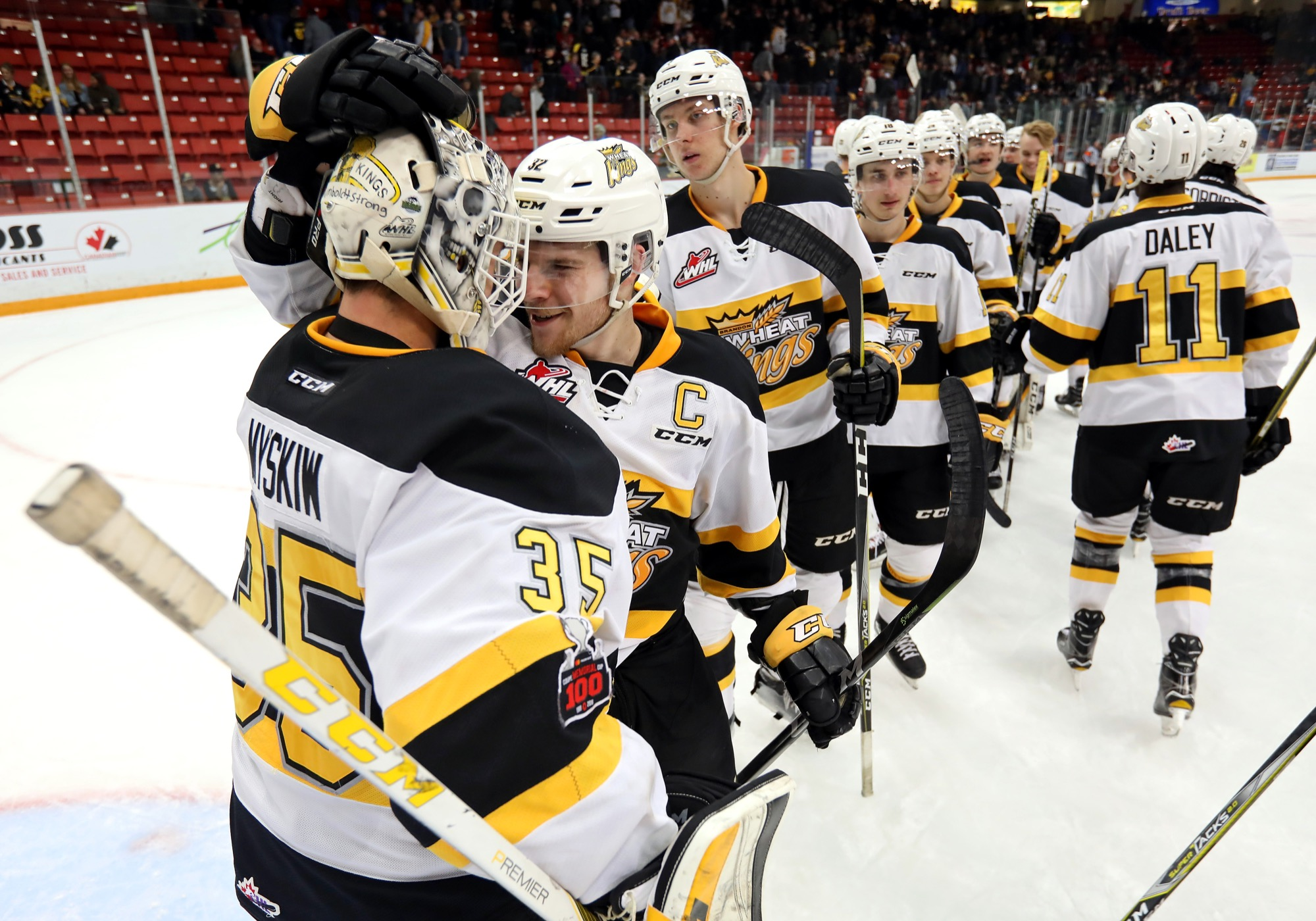Defenceman James Shearer, seen congratulating Dylan Myskiw after a Western Hockey League playoff victory earlier this month, concluded his Western Hockey League career as the Brandon Wheat Kings' captain and is likely headed to university next season.