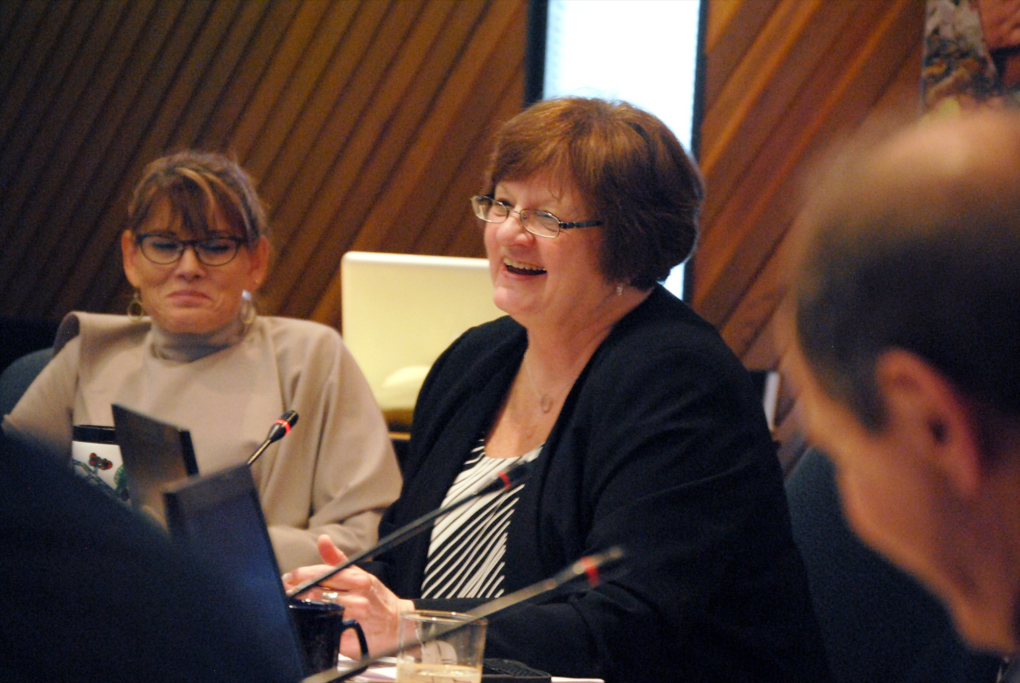Brandon School Division chair Linda Ross shares a laugh with her colleagues following a budget meeting in February.