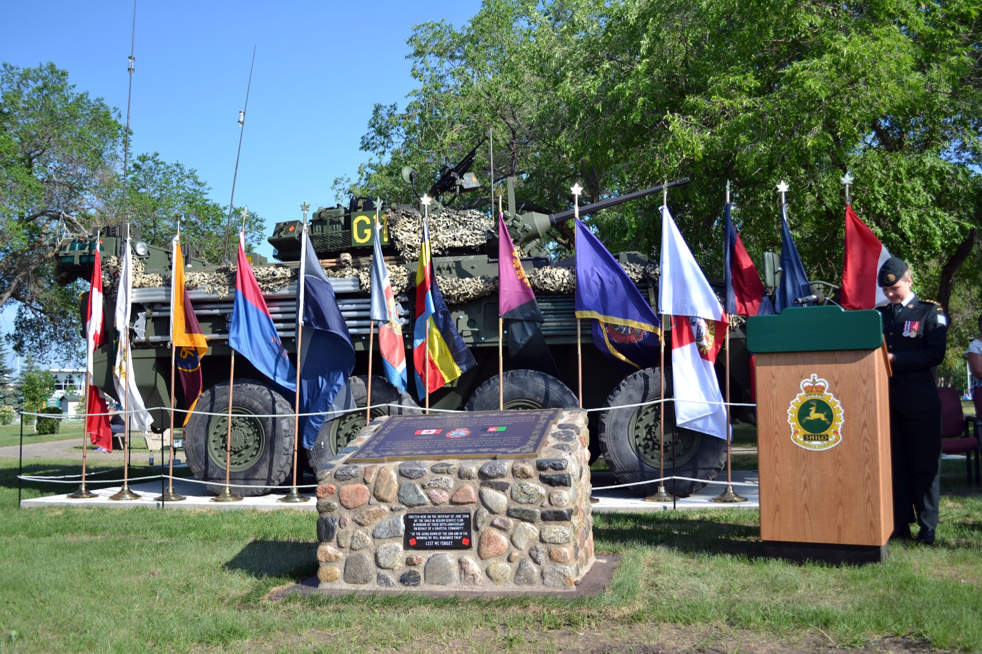 The Afghanistan memorial is unveiled at Canoe River Memorial Park at CFB Shilo on Tuesday morning.