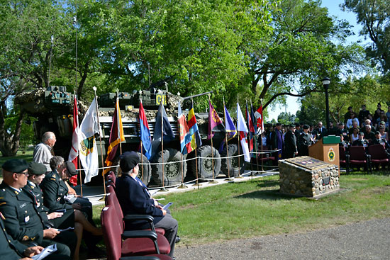 Military commanders and other dignitaries attend the dedication ceremony for the Afghanistan memorial at Canoe River Memorial Park on Tuesday at CFB Shilo.