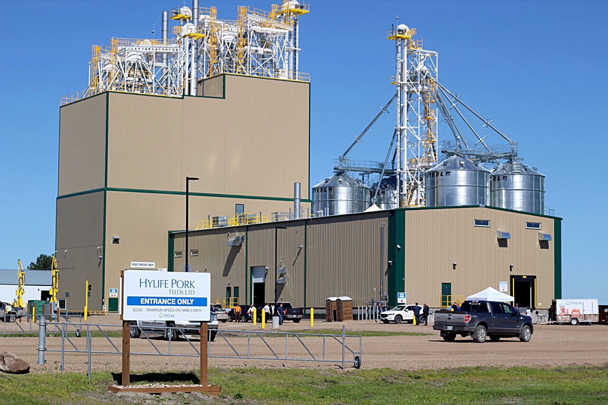 HyLife's new feed mill is pictured at Killarney this week, around the time of its grand opening.