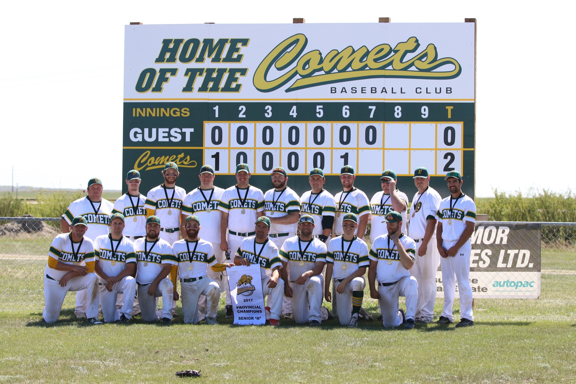 The Rivers Comets pose after winning the inaugural provincial senior A baseball championship last August. By reaching back to their roots and building for the future, the Comets have strengthened the game of baseball in Rivers.