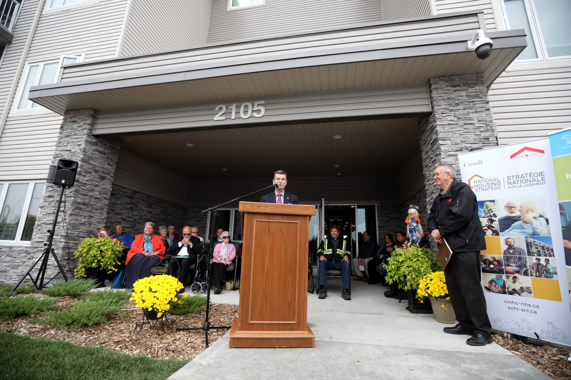 Charleswood-St James-Assiniboia-Headingley Liberal MP Doug Eyolfson speaks on behalf of federal Families, Children and Social Development Minister Jean-Yves Duclos during the unveiling of the Western Manitoba Seniors Non-Profit Housing Co-op seniors housing complex on Brandon Avenue on Tuesday.