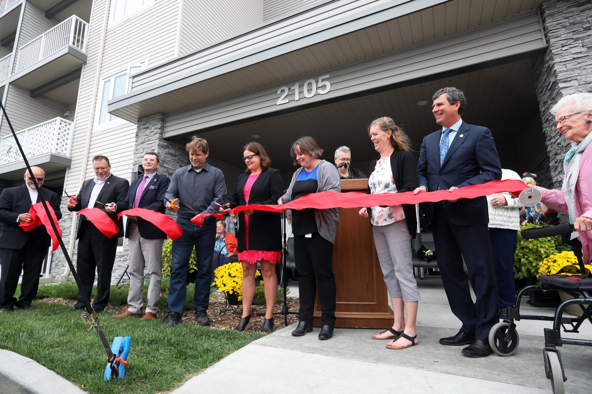 Dignitaries cut the ribbon to unveil the Western Manitoba Seniors Non-Profit Housing Co-op seniors housing complex at 2105 Brandon Ave. on Tuesday. The $14-million project features 48 affordable housing suites and 15 at market rates.