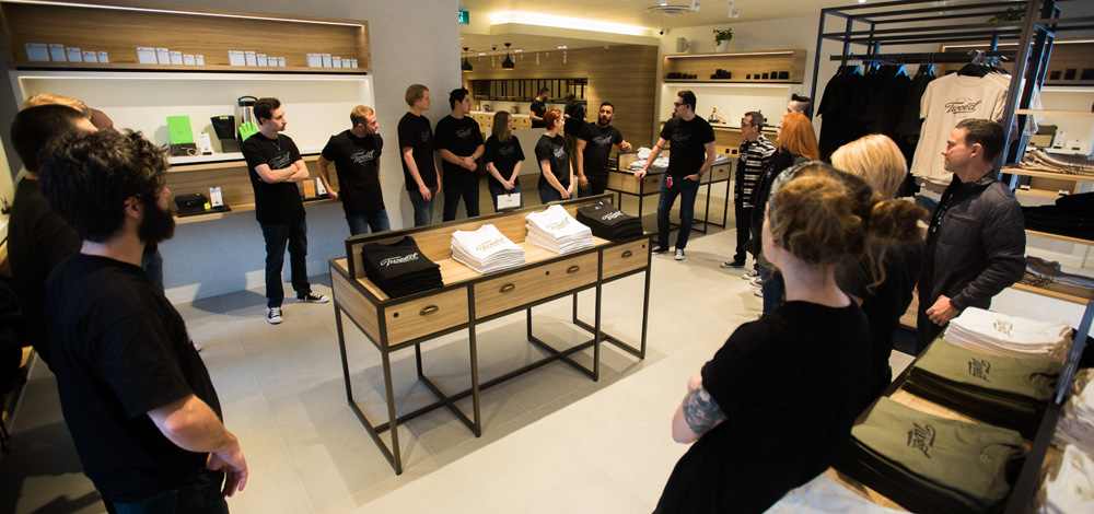 Tweed employees, also known as tweedtenders, prepare for the grand opening of Brandon's first retail marijuana shop Thursday Morning. (Chelsea Kemp/The Brandon Sun)