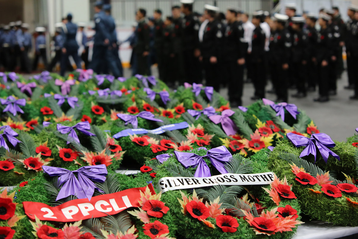 Wreaths wait to be placed during Sunday's Remembrance Day service in Brandon. (Bud Robertson/The Brandon Sun)