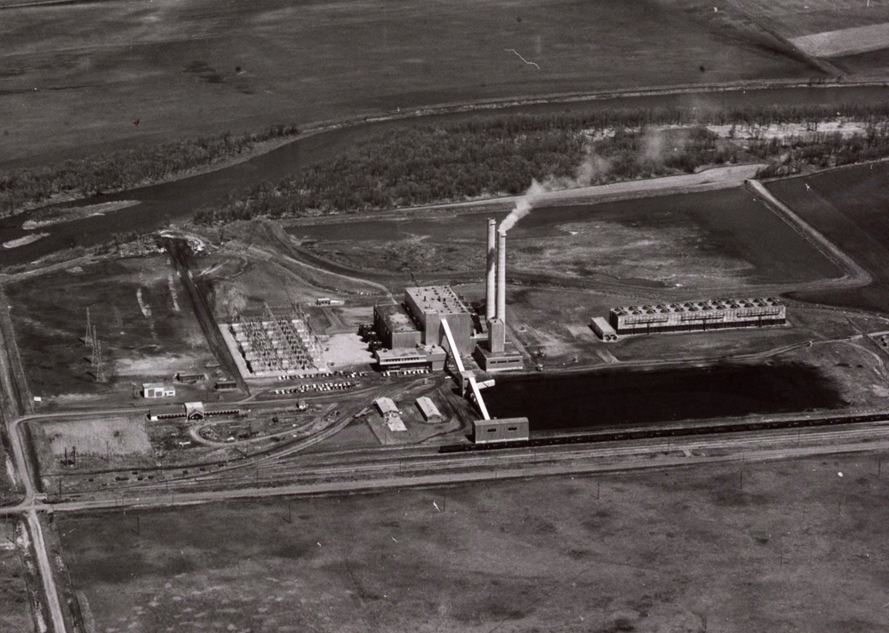 An archival aerial photo of the Brandon Generating Station from May 7, 1959. (Submitted)