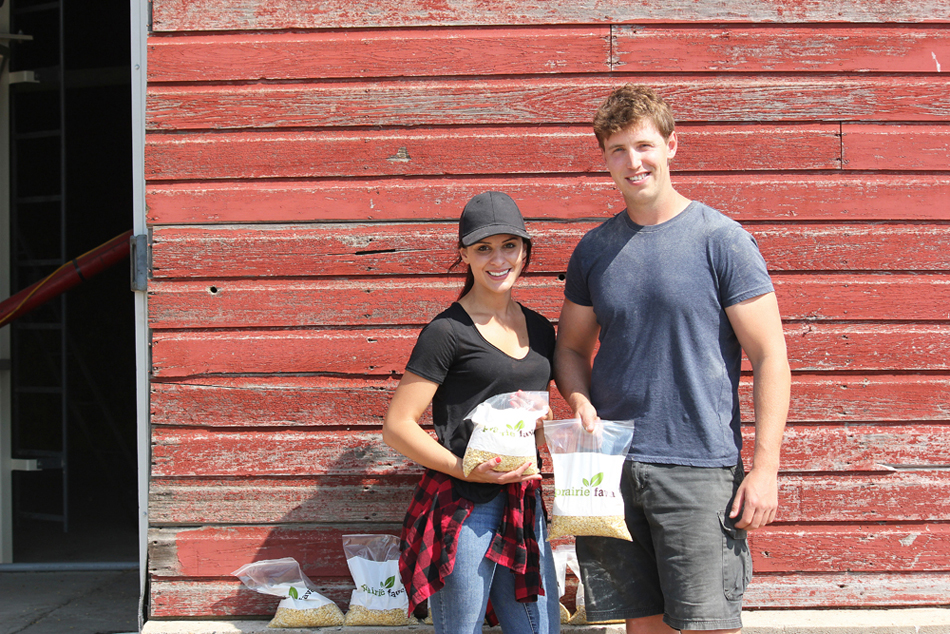 Hailey and Cale Jefferies, founders of Glenboro-based Prairie Fava, are pictured with their product, which offers consumers a protein source this year's updated Canada Food Guide is poised to support. (Submitted)