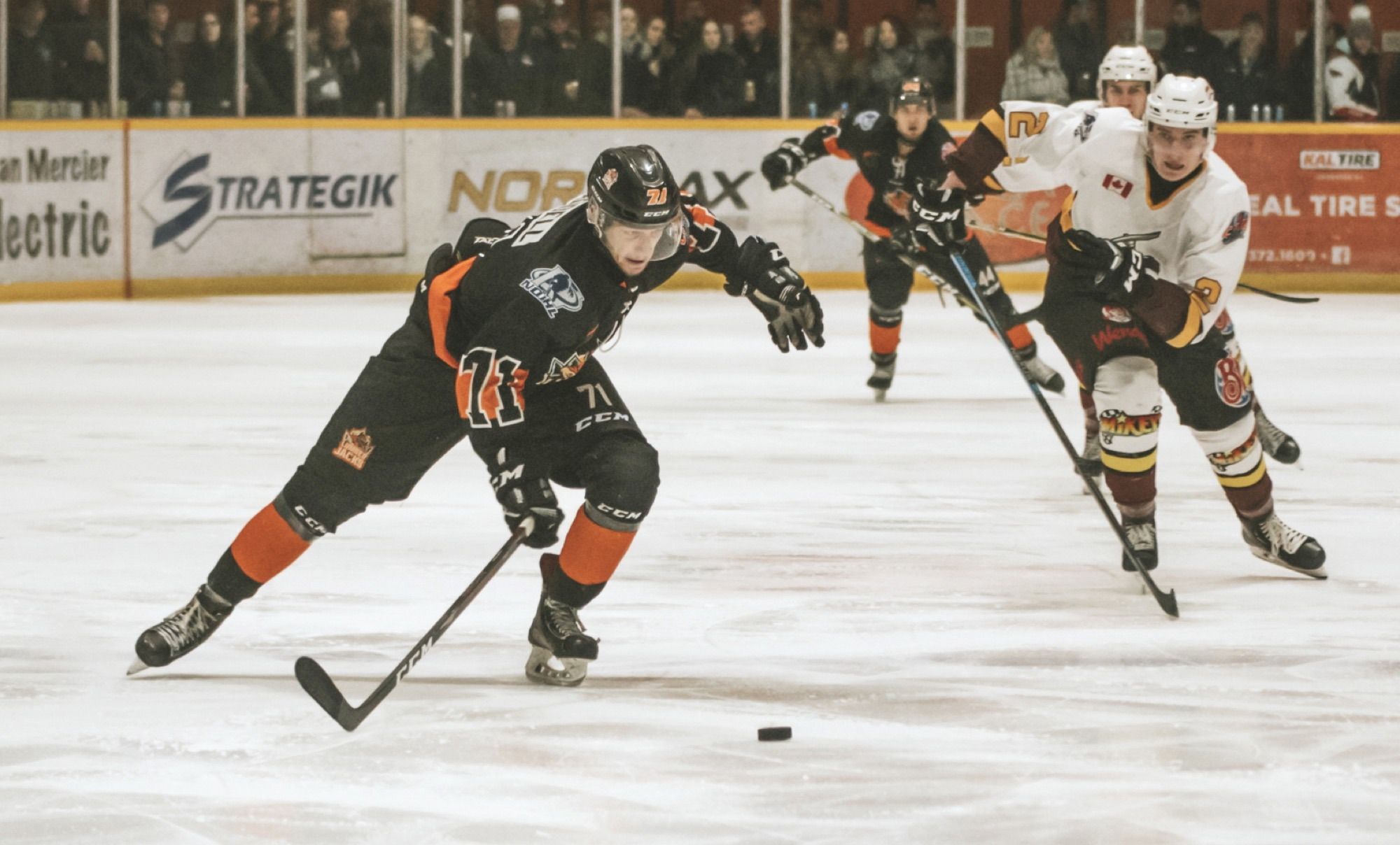 Brandonite Dawson Waddell, left, has carved out a niche for himself with the Hearst Lumberjacks in the Northern Ontario Junior Hockey League after bouncing around different Canadian Junior Hockey League circuits for several seasons.
