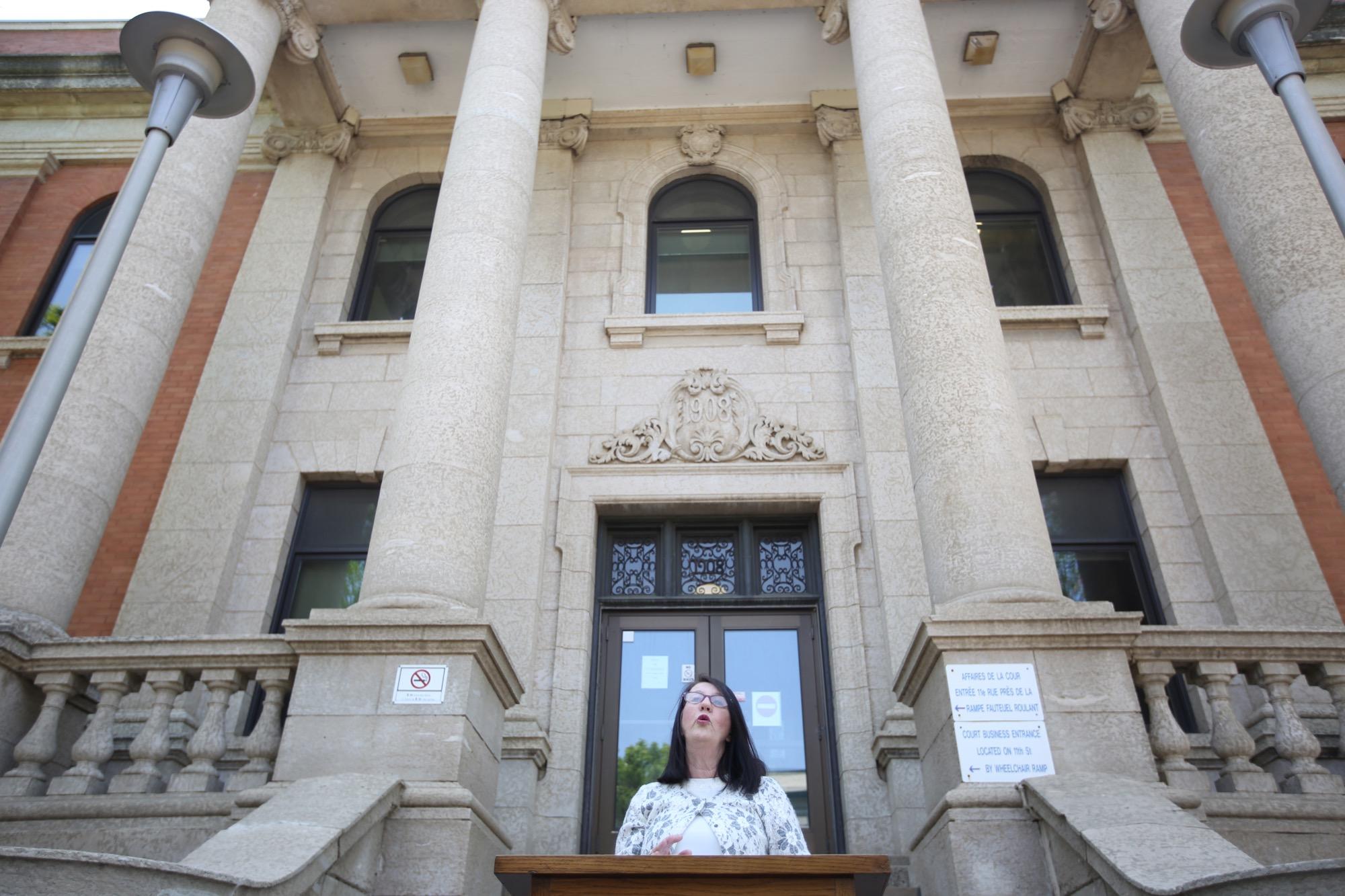 Chief Judge Margaret Wiebe announces the implementation of a drug treatment court in Brandon during a press conference outside the Brandon Court Office on Princess Avenue and 11th Street on Monday. The drug treatment court will provide help to individuals suffering from chronic and acute substance abuse issues.