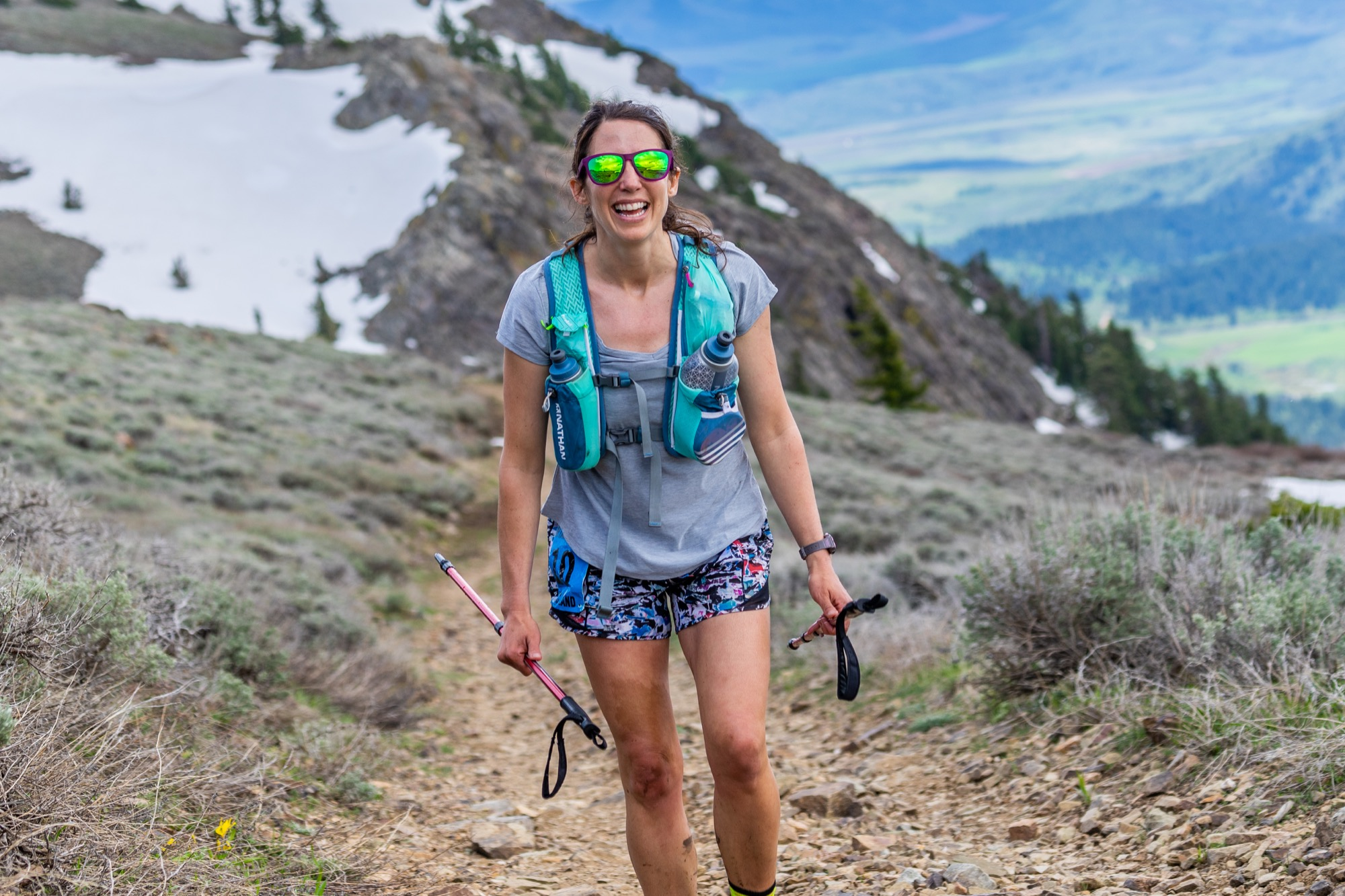 Brandon runner Stacy Dittmer is shown at the Scout Mountain Ultra south of Pocatello, Idaho on June 1, 2019. She won the female division of the 100-mile run in 28 hours 49 minutes 59 seconds.