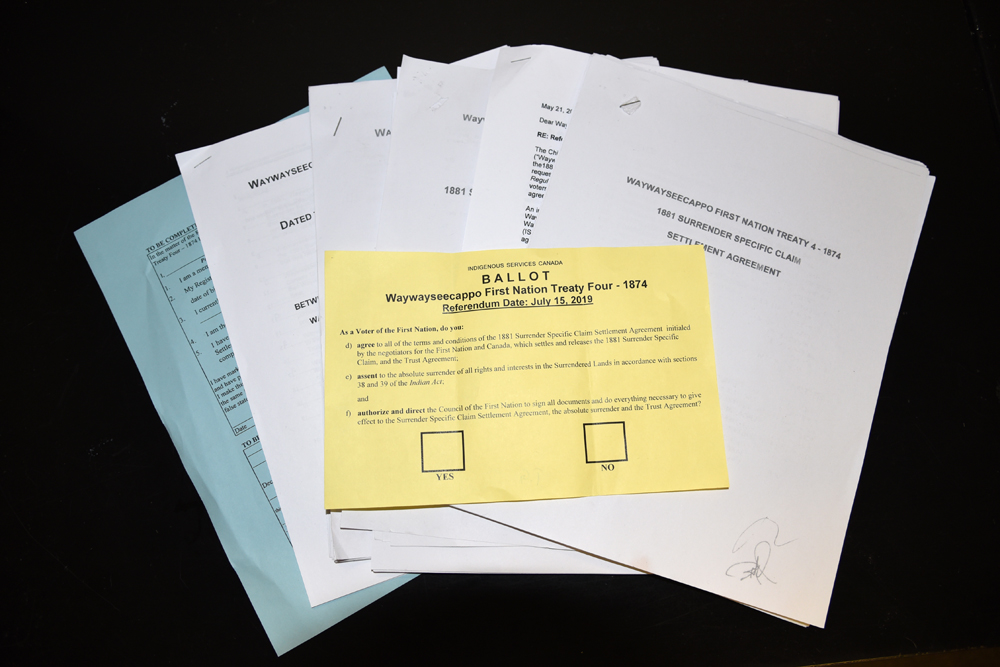 The Brandon Sun obtained documents pertaining to the settlement agreement between Waywayseecappo First Nation and Canada, as well as the referendum for band members to vote on.