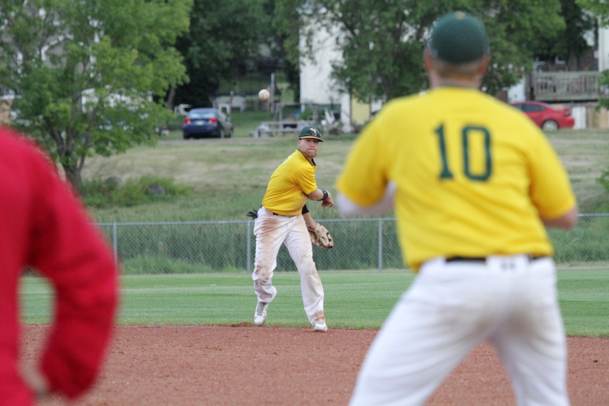 Young Guns shortshop Garrett Popplestone throws a Cardinals baserunner out at first during Game 3 of the best-of-five Andrew Agencies Senior AA Baseball League final at Sumner Field on Wednesday. (Thomas Friesen/The Brandon Sun)
