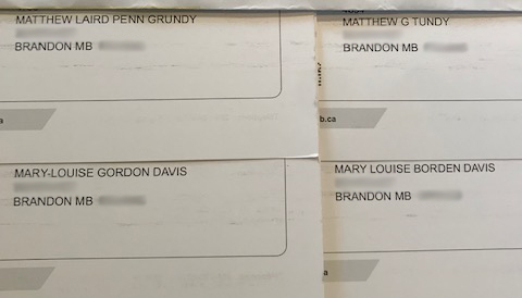 Mary-Louise Davis and her husband each received an extra voter information card in the mail with a misspelled version of their names. (Submitted)