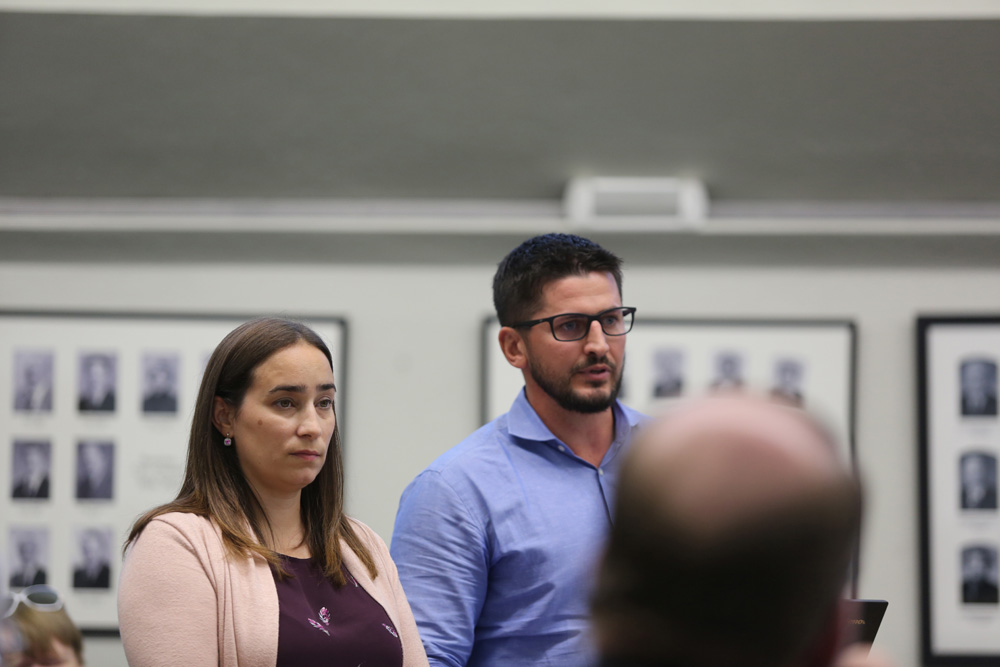 Seymour Pacific Developments assistant development manager Rachel Ricard and executive vice president Kris Mailman speak to Brandon City Council on Tuesday evening. (Drew May/The Brandon Sun)