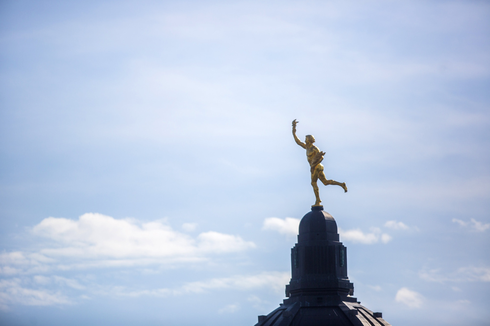 The golden boy stands on top of the Manitoba Legislative Building in Winnipeg. (File)
