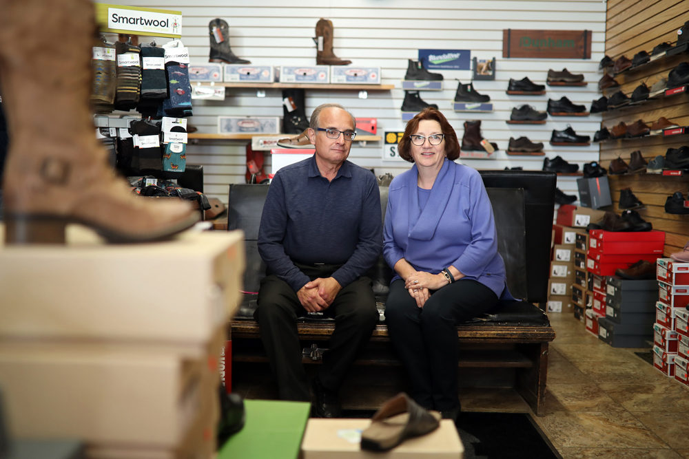 Bob and Angela Pappas, owners of Union Shoes on Rosser Avenue, are celebrating the store's 90th anniversary.  (Tim Smith/The Brandon Sun)
