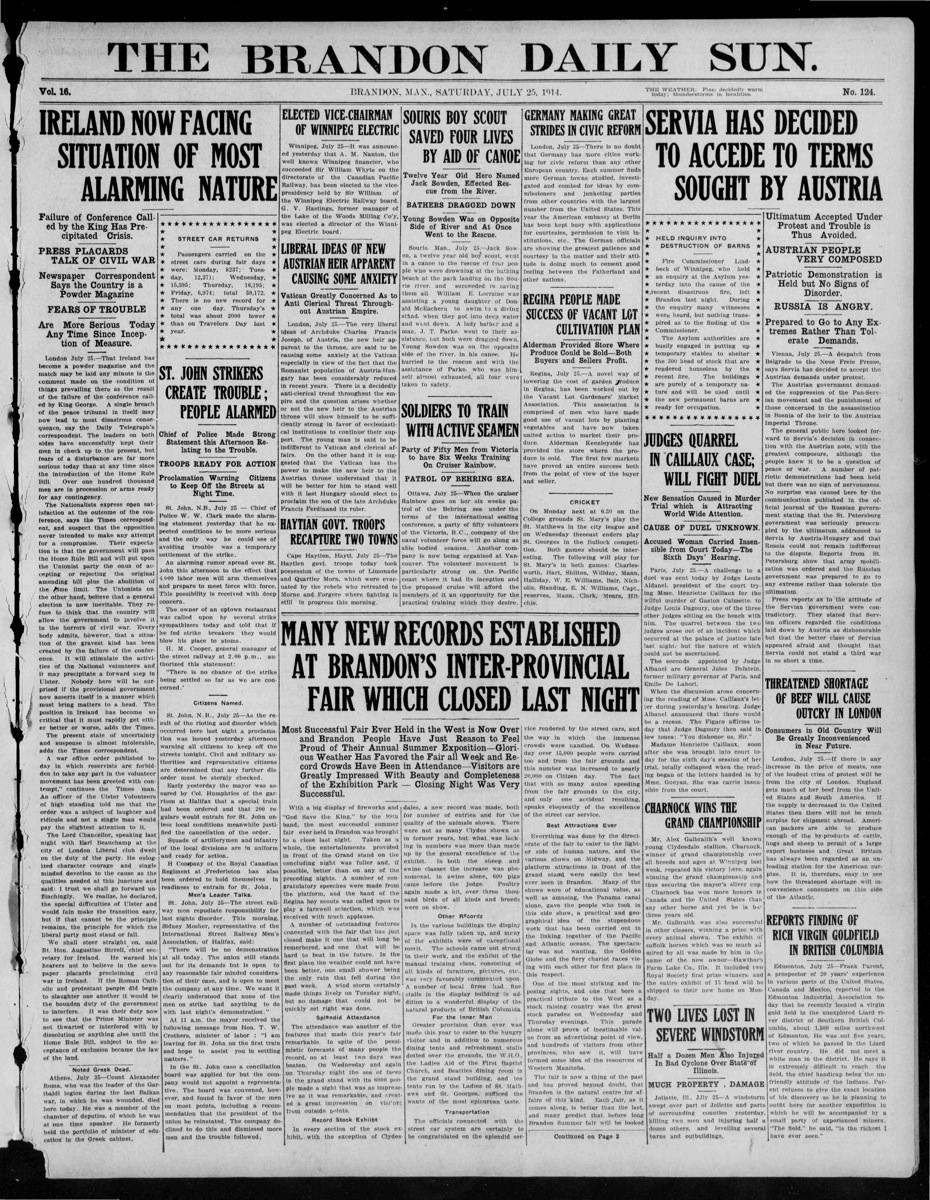 The Brandon Daily Sun front page from <a href='http://manitobia.ca/content/en/newspapers/Brandon%20Daily%20Sun/1914/07/25/iarchives' style='color:#fff;text-decoration:underline'>July 25, 1914</a>.