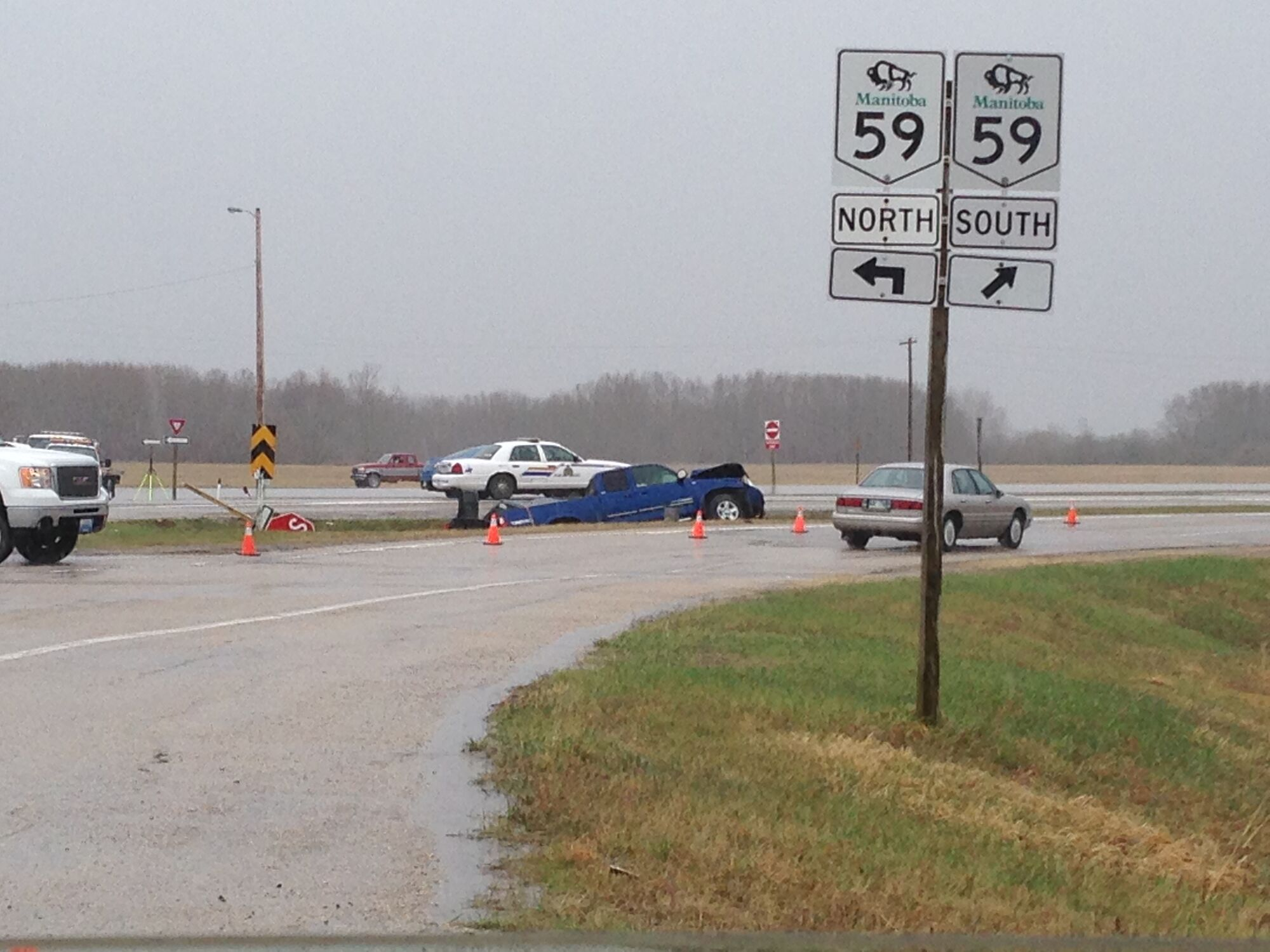 One man died after this collision at the intersection of Highway 59 and Road 32 East near Libau.