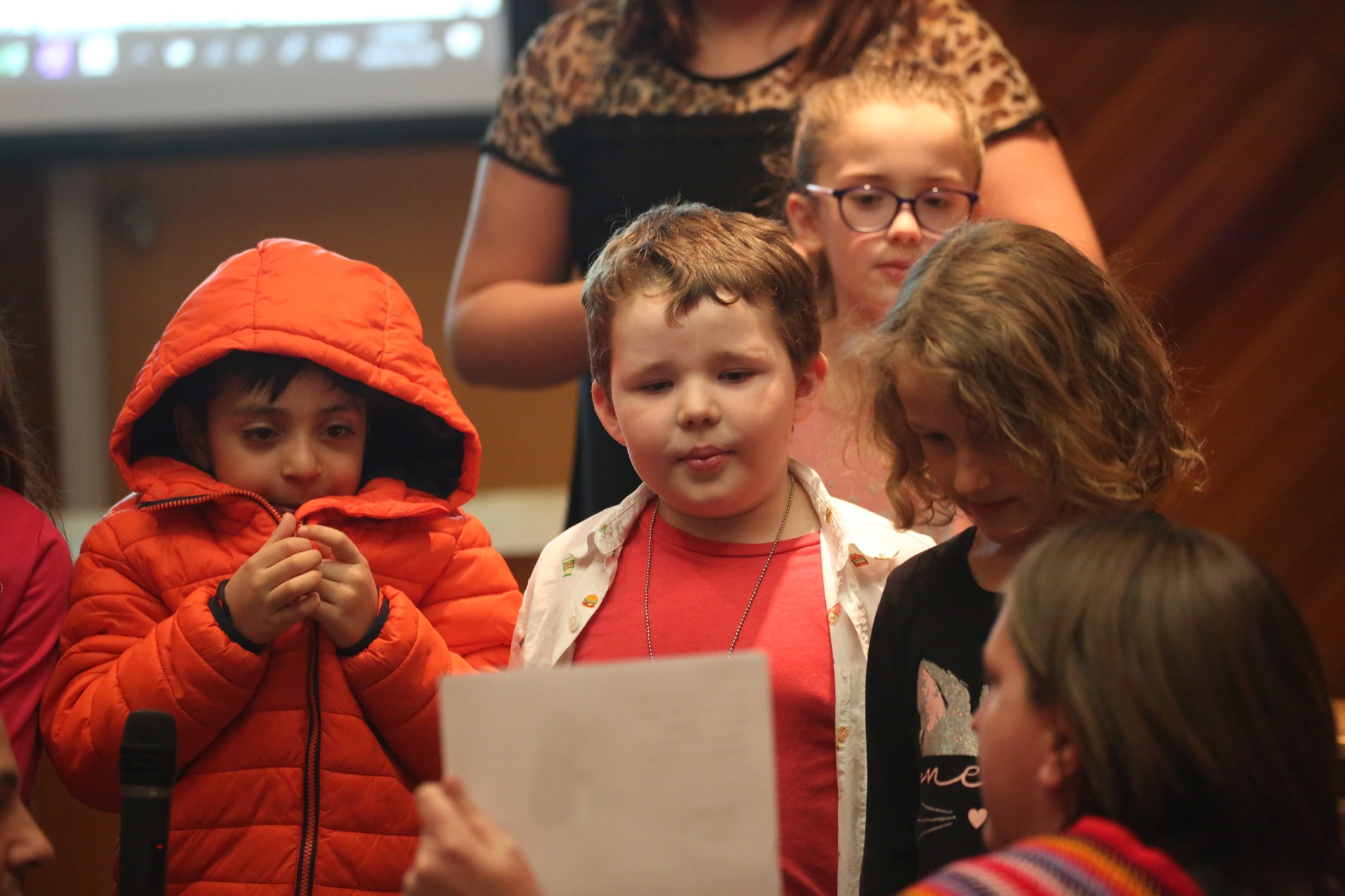 George Fitton School students perform two Michif songs at a Brandon School Division board of trustees meeting last week. From left: Allan Rincon, Hadley McLelland and Janessa Henderson, with Isabelle Hagan at the back and Jerilynn Wood, building student success with Indigenous parents worker.