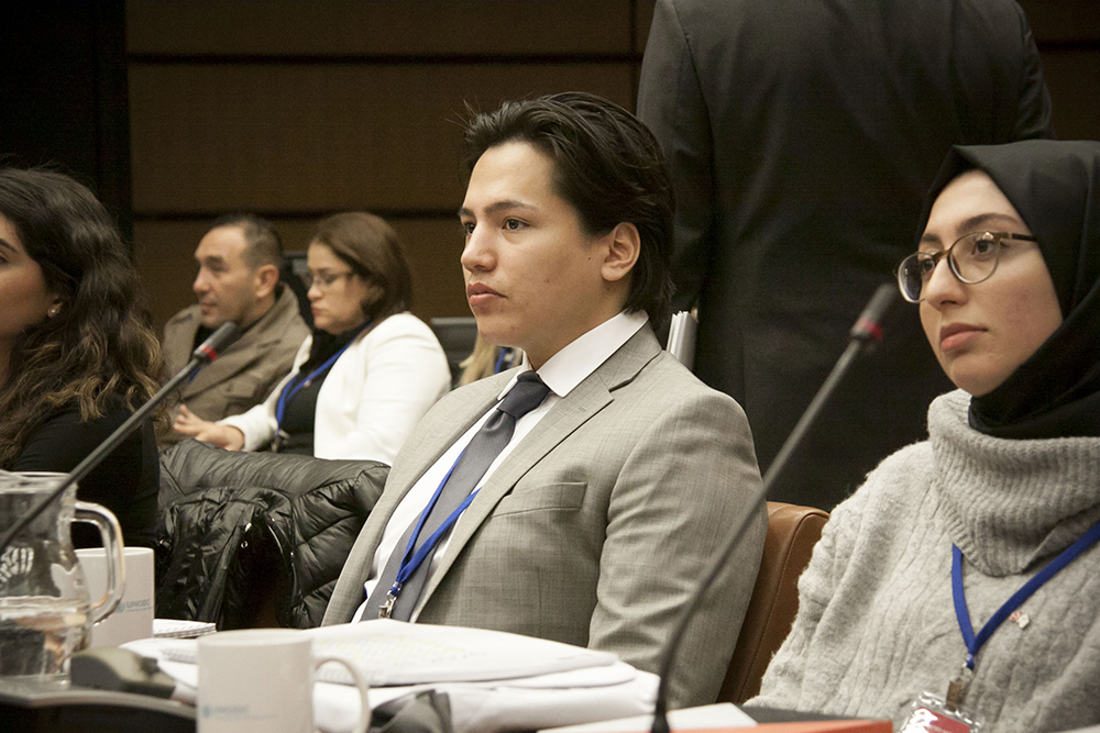 Brandon Bear Clan outreach worker Marshall Morrisseau particiaptes in the youth forum at the United Nations Office on Drugs and Crime's 63rd Session of the Commission on Narcotic Drugs held March 2-4 in Vienna, Austria. (Submitted)