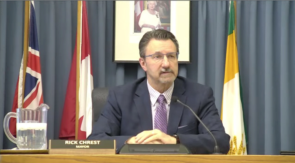 Mayor Rick Chrest during Monday evening's city counil meeting. (Screenshot)