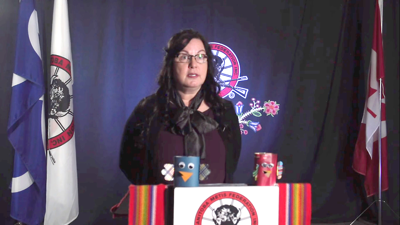 Louis Riel Institute executive director Sharon Parenteau speaks during a Manitoba Metis Federation live update. (Screenshot)