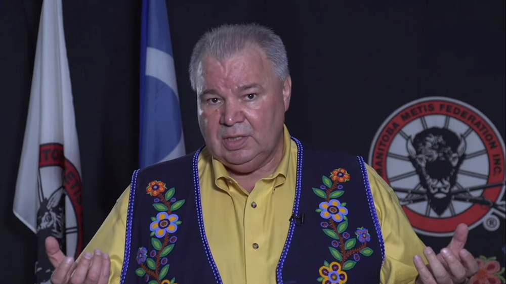 Manitoba Metis Federation president David Chartrand said Thursday that Premier Brian Pallister has failed to communicate adequately about reopening non-essential services and businesses in the province. (Screenshot)