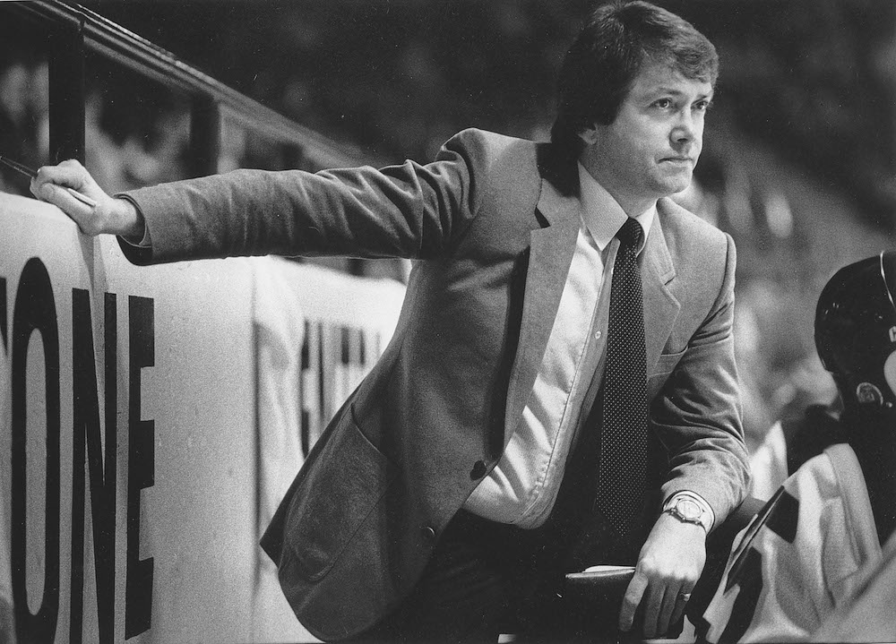 Brandon Wheat Kings head coach Jack Sangster watches a game from the bench at the Keystone Centre during his three-year tenure with the club in the 1980s.