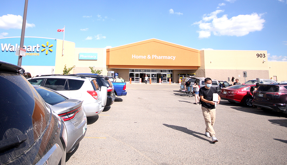 Brandon's Walmart is seen Thursday, where an employee who hasn't worked at the store since July 26 tested positive at an undisclosed time. (Tyler Clarke/The Brandon Sun)