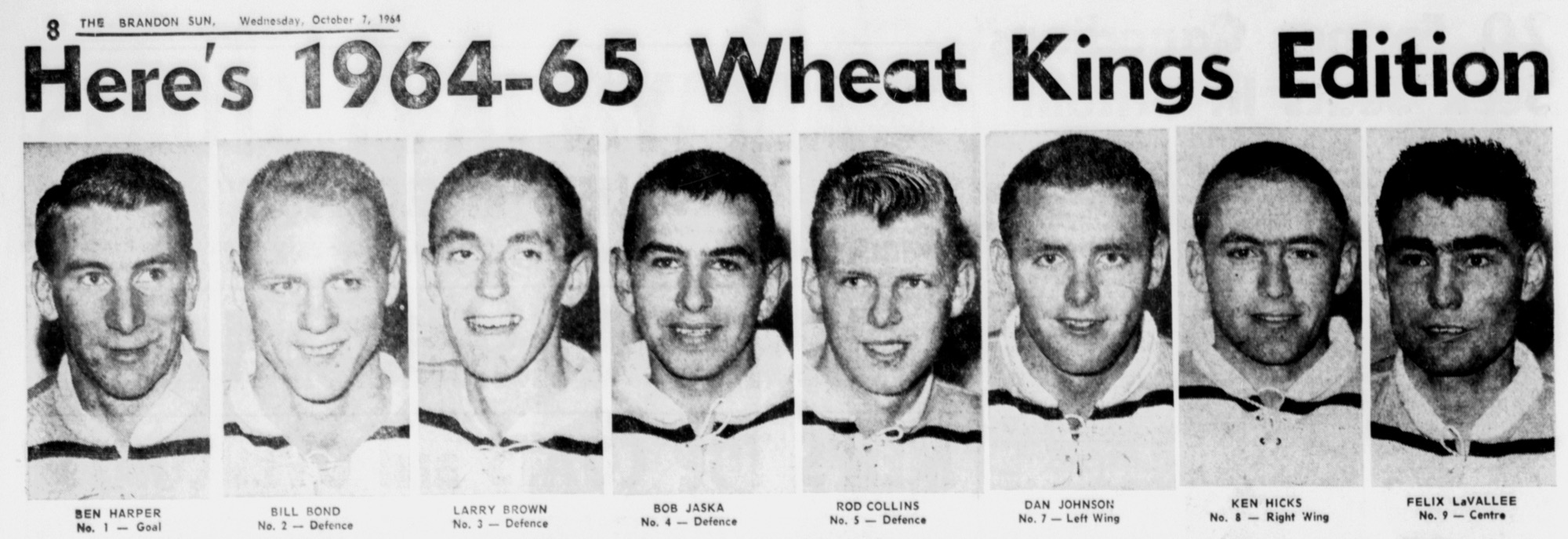 The 1964-65 Brandon Wheat Kings team is unveiled in the Oct. 7, 1964 edition of the Brandon Sun.
