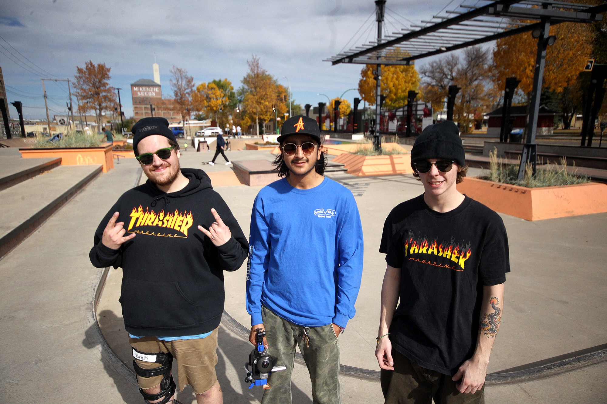 The trio behind the upcoming The Shred Shack indoor skate park in Brandon  — Jordan Bradshaw, Cody Houle and Taber Collens — is seen at Saturday's fundraiser at the Kristopher Campbell Memorial Skate Plaza.
