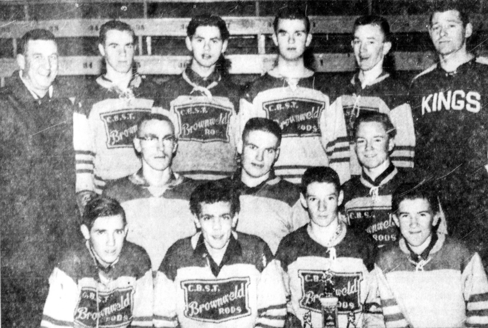 The Travellers beat the Lions 2-0 in the best-of-three 1963 city juvenile final. The team included: Front row: (left to right) Bill Fairbairn, Bill Gray, Ron Hawkins and Greg Sutherland. Middle row: Larry Brown, Richard Bull, Ray Hurd. Back row: Manager Ray Bull, David Bender, John Owens, Greg Borotsik, Brian Johnston and coach Jim Mann. Missing: Assistant coach Mike Jaskow, Brian Lange and Mark Robinson.