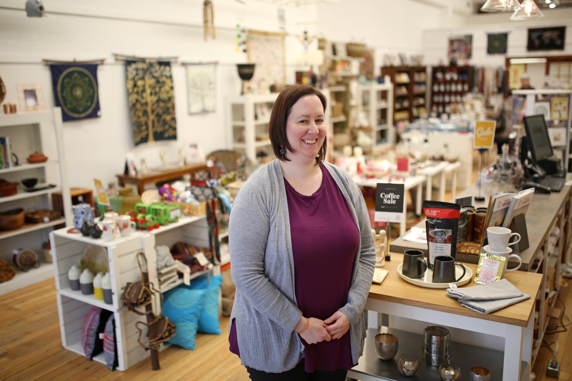 Meeghan Gavin, manager of Ten Thousand Villages, stands inside the Rosser Avenue store, which will be named the 2020 recipient of the Global Citizenship Award at The Marquis Project's AGM.