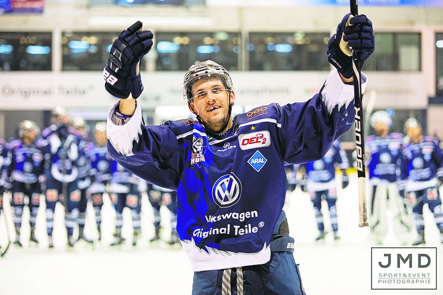 Jens Meilleur is shown on the ice with the EC Kassel Huskies in the DEL2 in Germany. He spent most of his five professional seasons with the club.