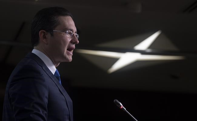Conservative MP Pierre Poilievre speaks during a news conference Monday, Nov. 16, 2020 in Ottawa. Poilievre says building up the Canadian economy post-pandemic can't be achieved without a massive overhaul of the tax system and regulatory regime. THE CANADIAN PRESS/Adrian Wyld
