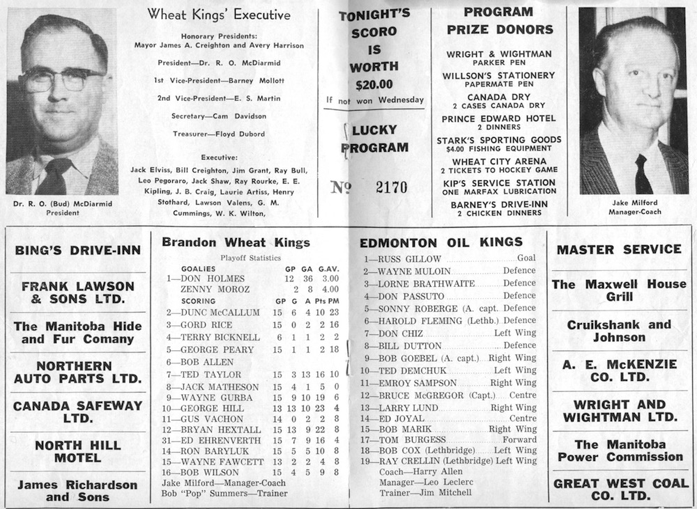 The lineups are shown for one of the western final games between the Brandon Wheat Kings and the Edmonton Oil Kings.