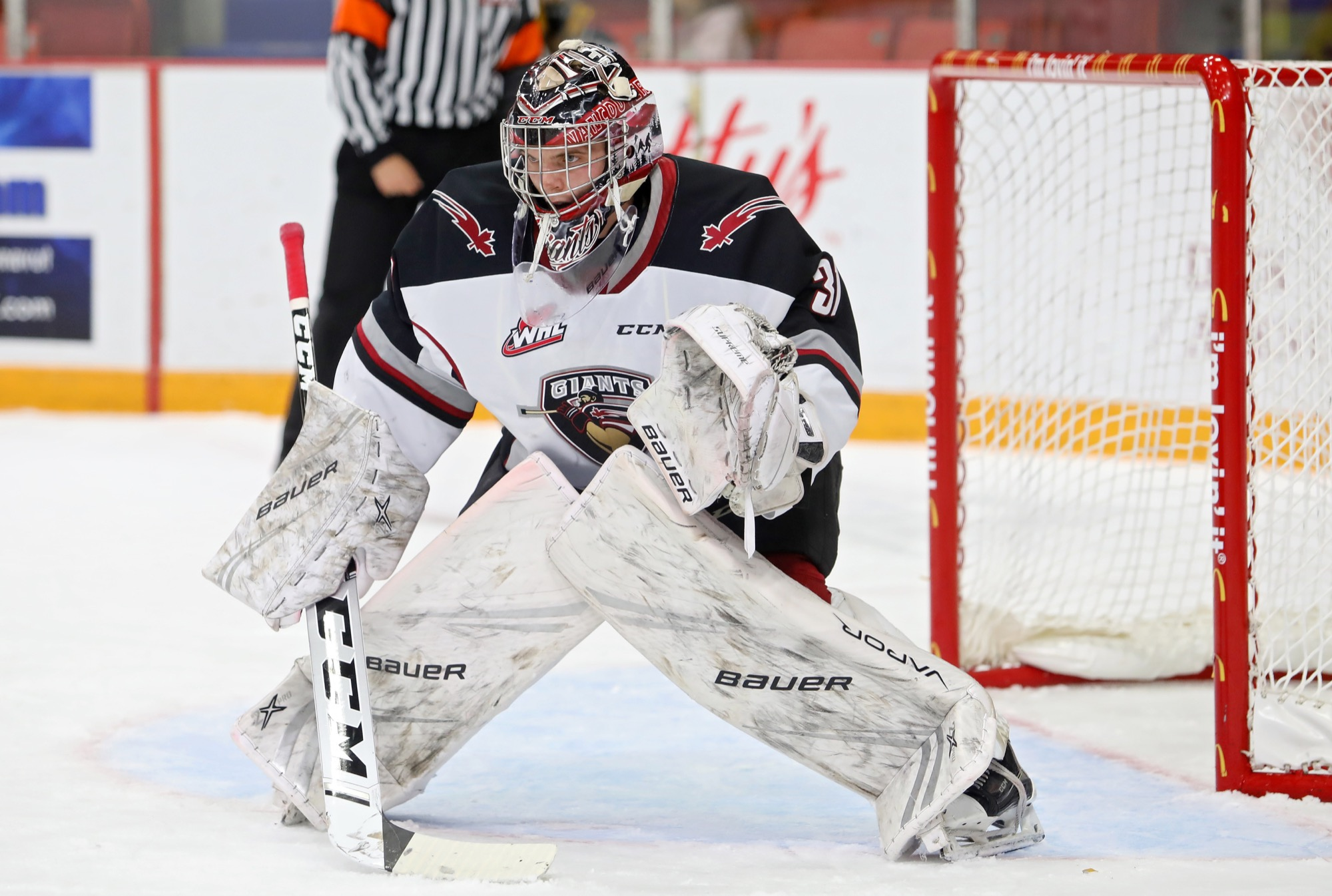Goalie Trent Miner of the Vancouver Giants, shown watching the play during Western Hockey League action against the Brandon Wheat Kings at Westoba Place on Oct. 4, 2019, is in camp with the American Hockey League's Colorado Eagles.