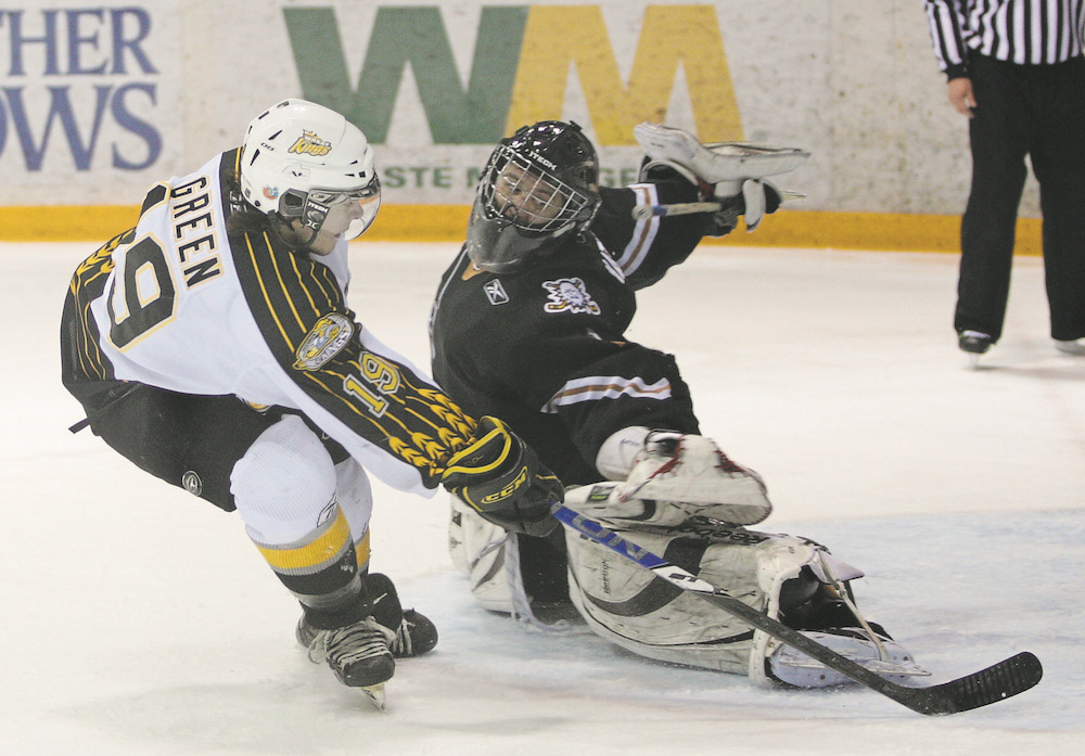 Nathan Green unsuccessfully tries to get the puck past goalie Todd Mathews of the Kootenay Ice on a penalty shot on March 21, 2009.