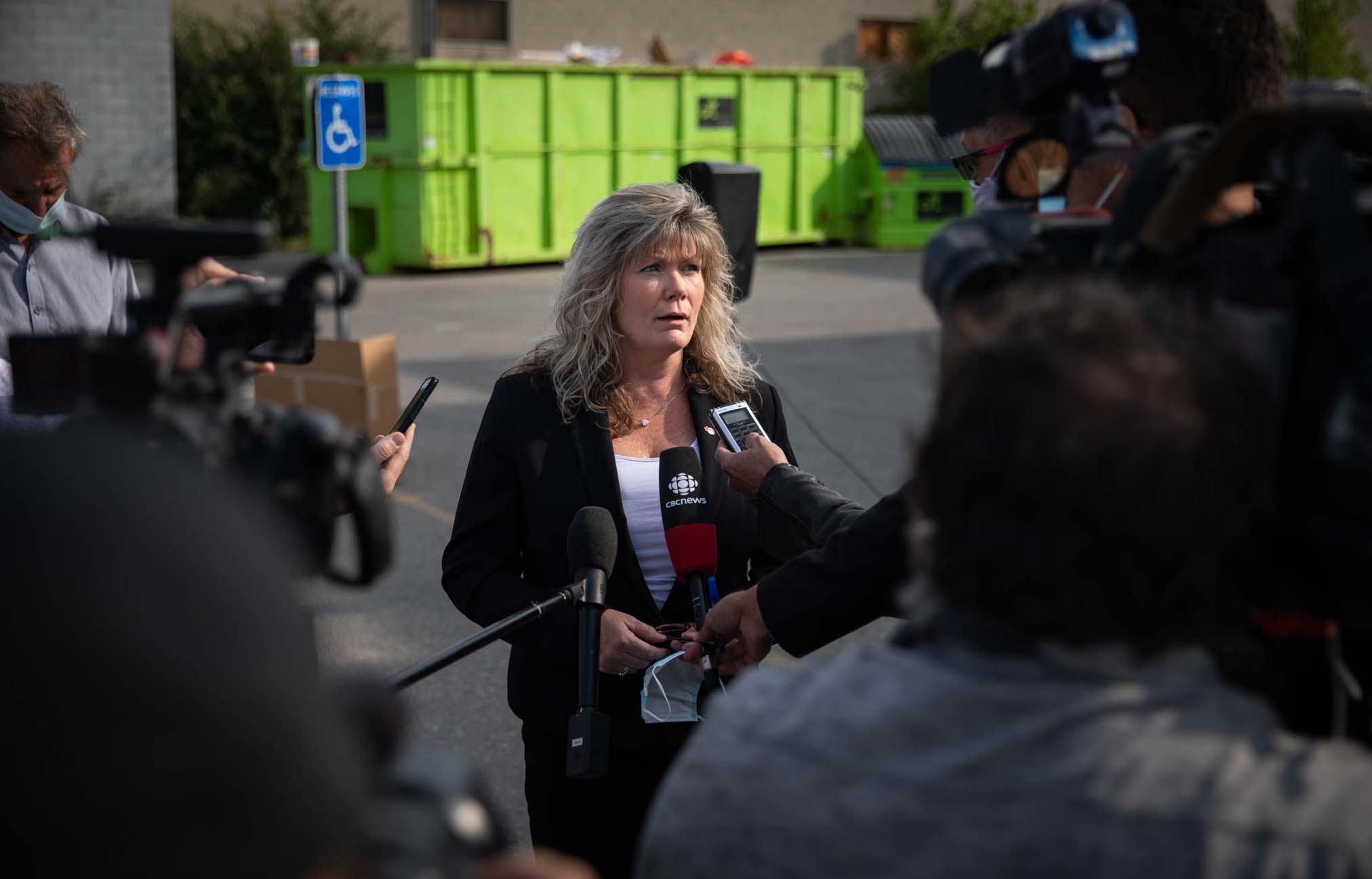 Conservative candidate Shelly Glover in a media scrum following her announcement for PC provincial candidate on September 10, 2021 at Restore Winnipeg.