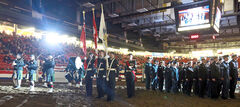 Military cadets, led by the 26th Field Regiment Band and preceded by the 2nd Battalion Princess Patricia's Canadian Light Infantry Drum Line band, gather in the  main arena during the opening ceremonies of the 107th annual Royal Manitoba Winter Fair in Westman Place on Monday.